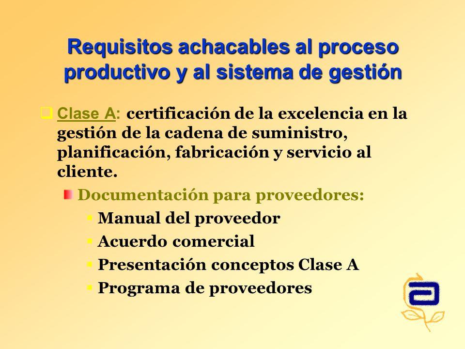 Requisitos achacables al proceso productivo y al sistema de gestión Clase A: certificación de la excelencia en la gestión de la cadena de suministro, planificación, fabricación y servicio al cliente.