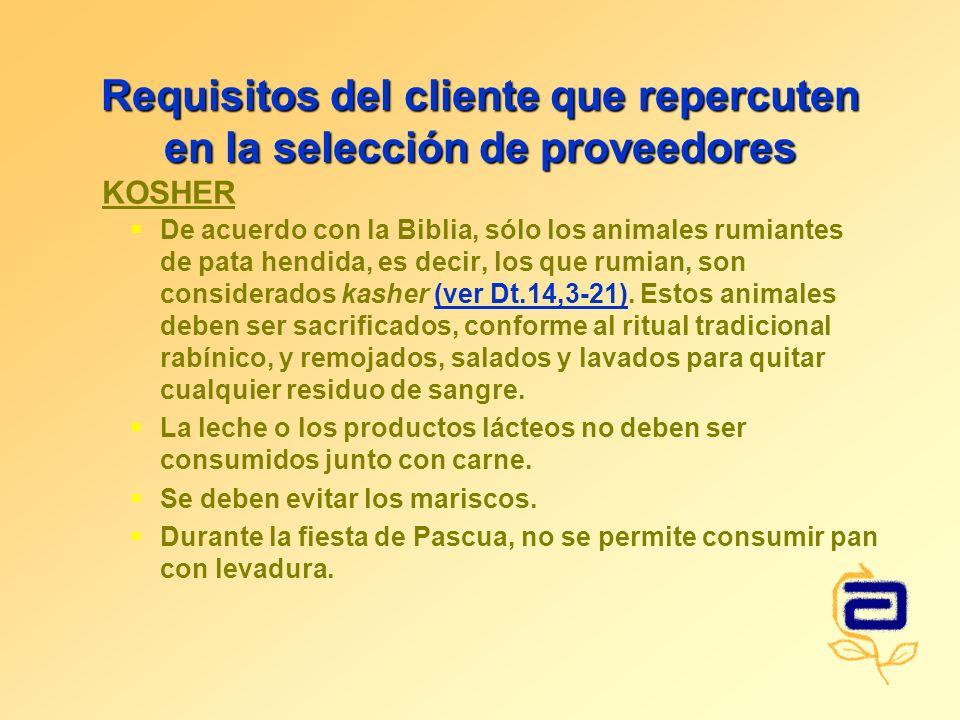 Requisitos del cliente que repercuten en la selección de proveedores De acuerdo con la Biblia, sólo los animales rumiantes de pata hendida, es decir, los que rumian, son considerados kasher (ver Dt.14,3-21).