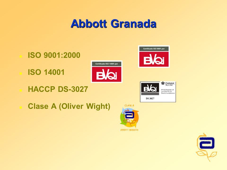 Abbott Granada n ISO 9001:2000 n ISO 14001 n HACCP DS-3027 n Clase A (Oliver Wight)