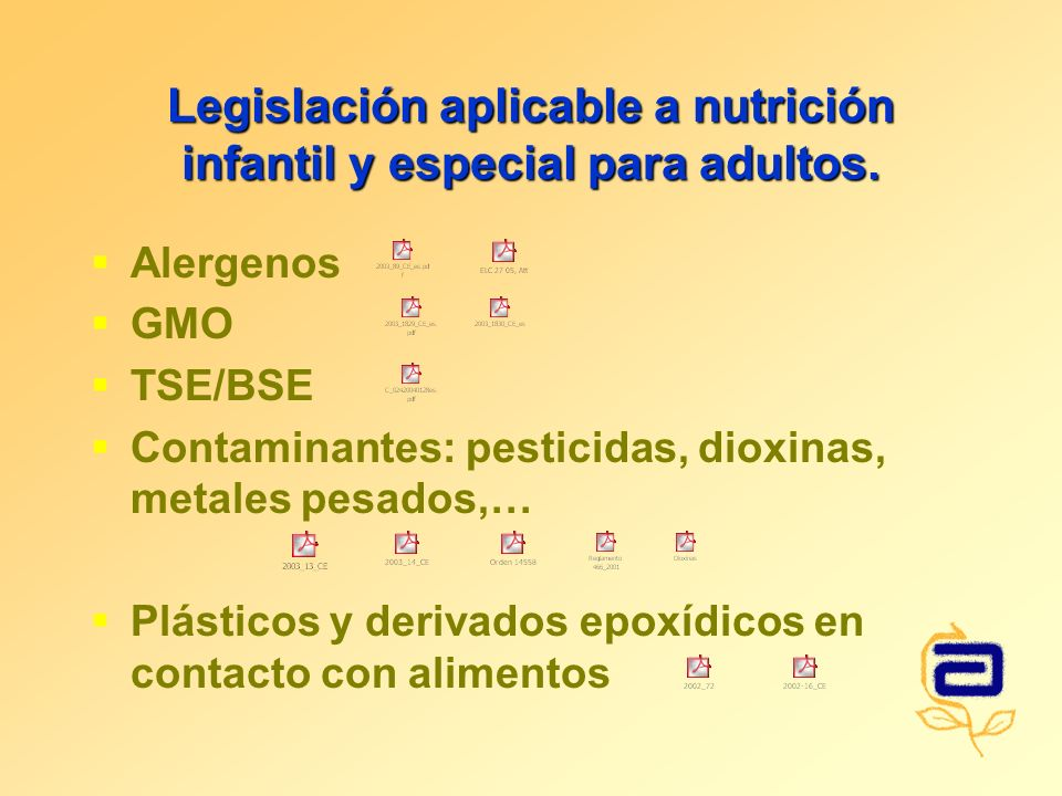 Legislación aplicable a nutrición infantil y especial para adultos. Alergenos GMO TSE/BSE Contaminantes: pesticidas, dioxinas, metales pesados,… Plást