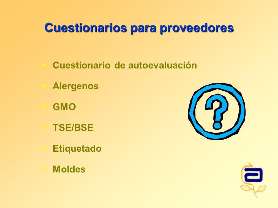 Cuestionarios para proveedores Cuestionario de autoevaluación Alergenos GMO TSE/BSE Etiquetado Moldes