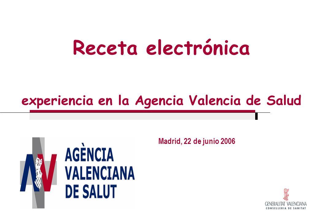 Receta electrónica experiencia en la Agencia Valencia de Salud Madrid, 22 de junio 2006