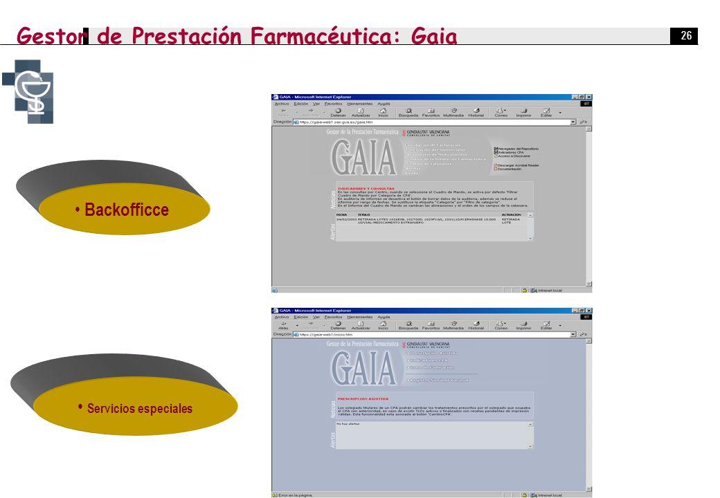 26 Backofficce Servicios especiales Gestor de Prestación Farmacéutica: Gaia