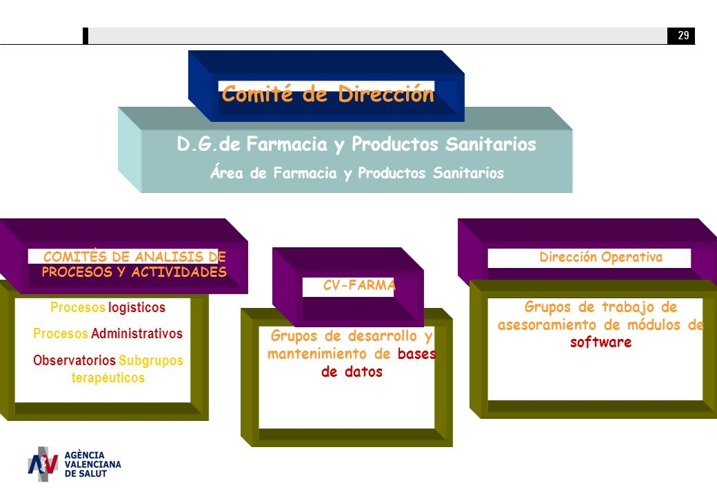 29 D.G.de Farmacia y Productos Sanitarios Área de Farmacia y Productos Sanitarios Dirección Operativa Grupos de trabajo de asesoramiento de módulos de