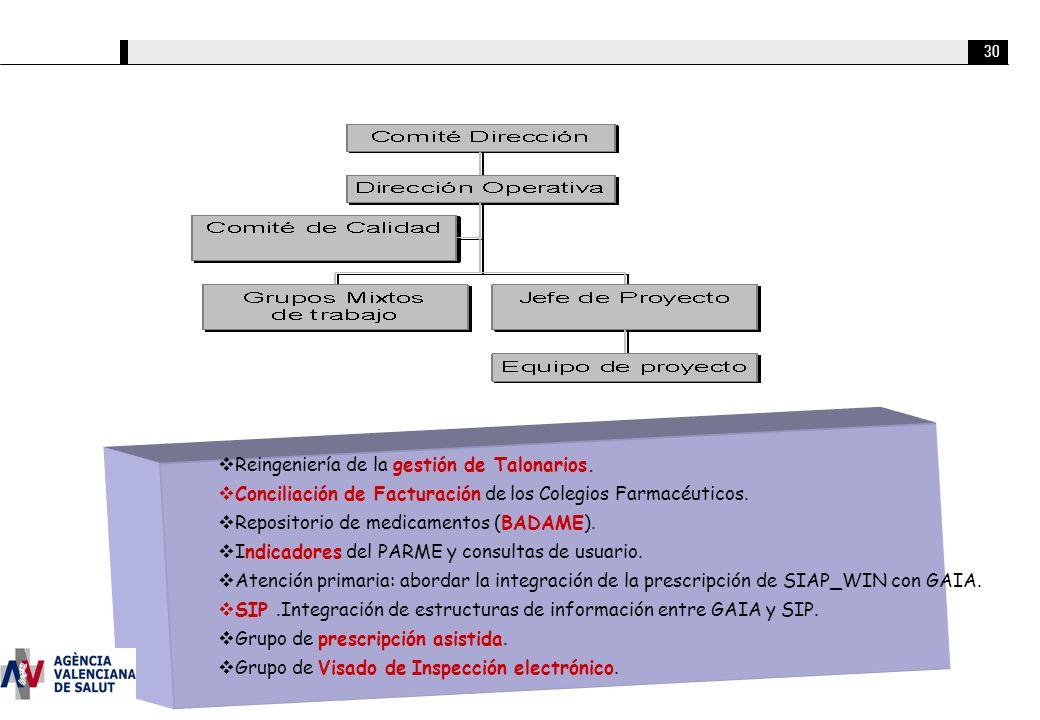 30 Reingeniería de la gestión de Talonarios. Conciliación de Facturación de los Colegios Farmacéuticos. Repositorio de medicamentos (BADAME). Indicado