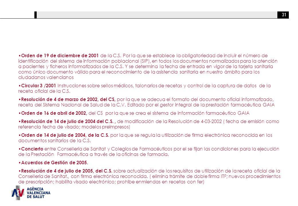 31 Orden de 19 de diciembre de 2001 de la C.S. Por la que se establece la obligatoriedad de incluir el número de identificación del sistema de informa
