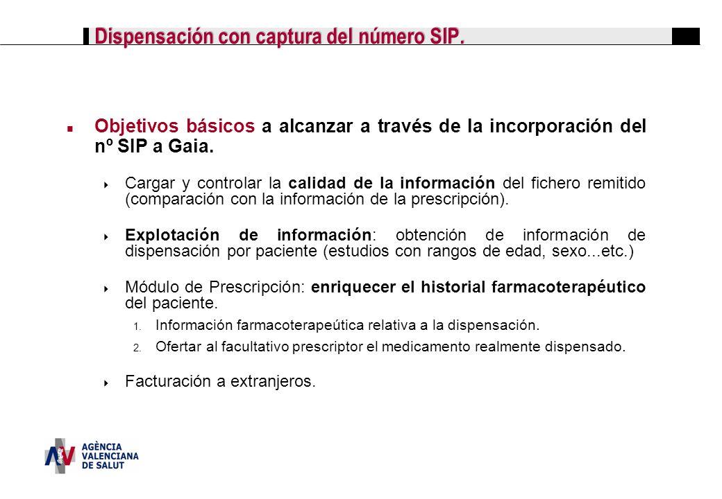 Dispensación con captura del número SIP. Objetivos básicos a alcanzar a través de la incorporación del nº SIP a Gaia. Cargar y controlar la calidad de