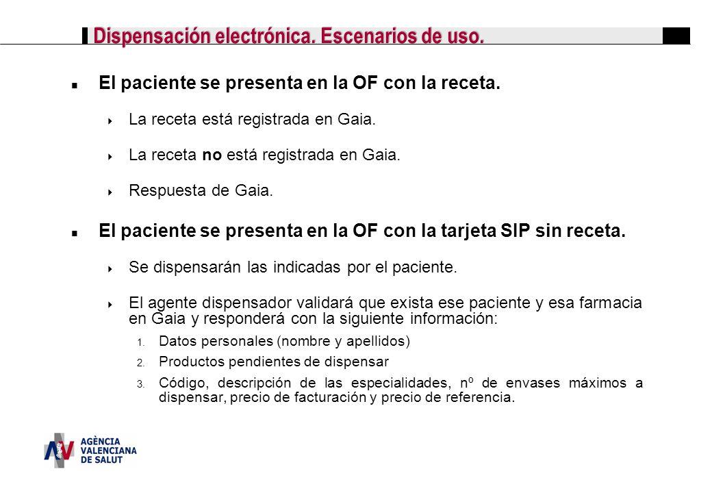 Dispensación electrónica. Escenarios de uso. El paciente se presenta en la OF con la receta. La receta está registrada en Gaia. La receta no está regi
