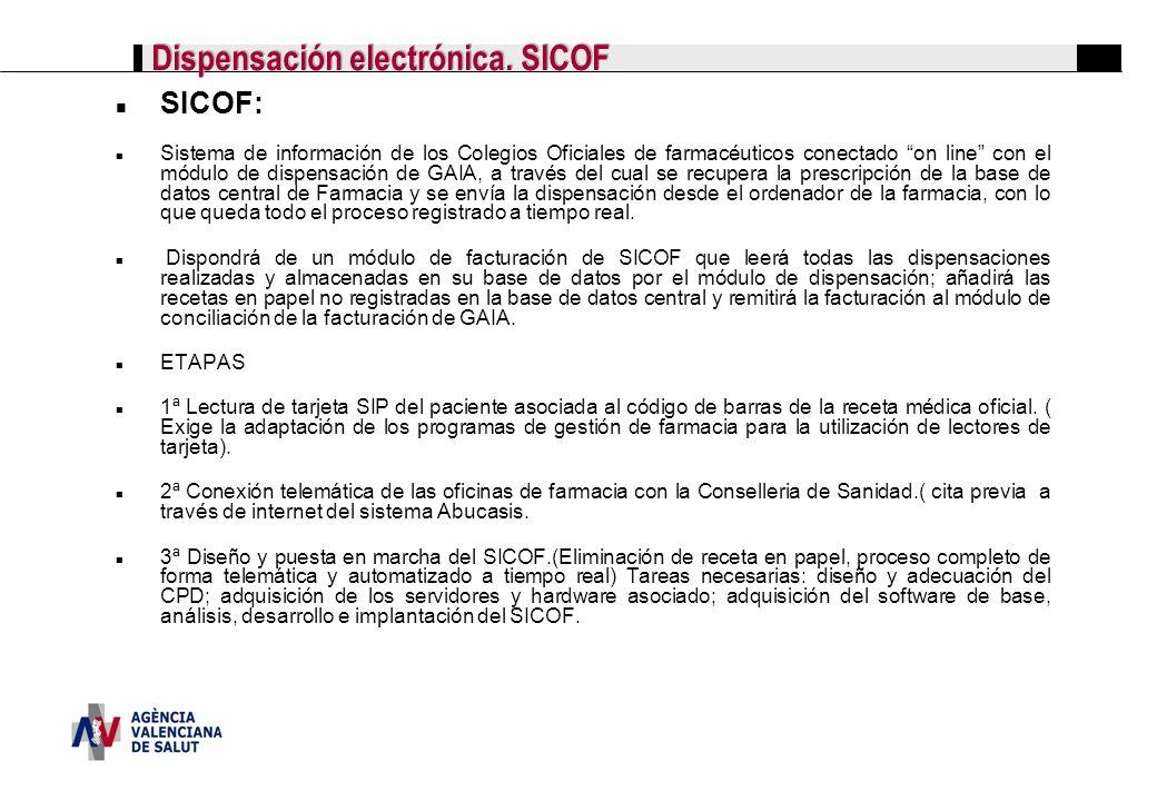 Dispensación electrónica. SICOF SICOF: Sistema de información de los Colegios Oficiales de farmacéuticos conectado on line con el módulo de dispensaci