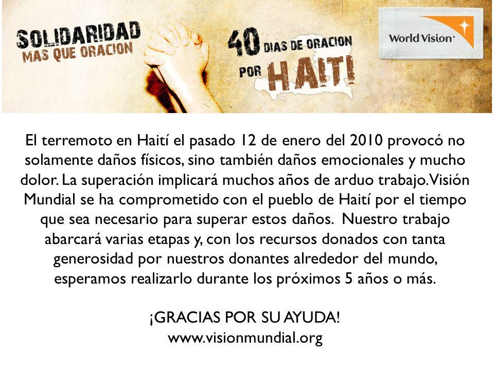 El terremoto en Haití el pasado 12 de enero del 2010 provocó no solamente daños físicos, sino también daños emocionales y mucho dolor.