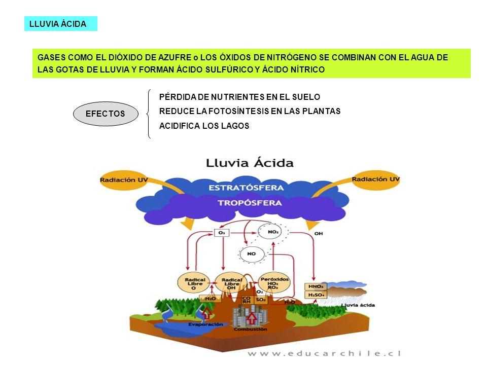 LLUVIA ÁCIDA GASES COMO EL DIÓXIDO DE AZUFRE o LOS ÓXIDOS DE NITRÓGENO SE COMBINAN CON EL AGUA DE LAS GOTAS DE LLUVIA Y FORMAN ÁCIDO SULFÚRICO Y ÁCIDO