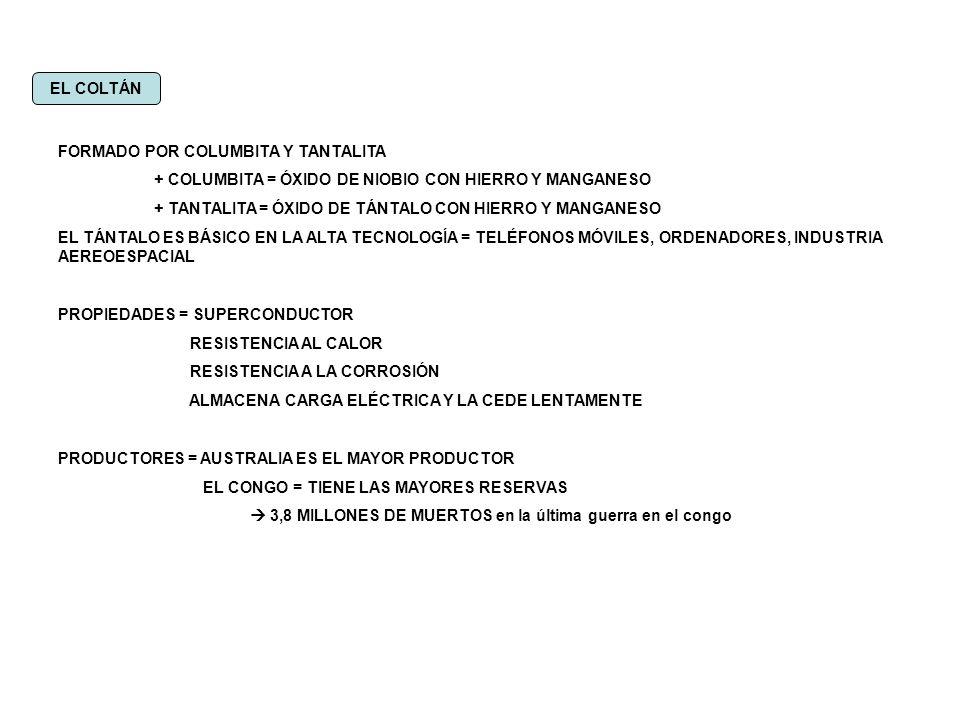 EL COLTÁN FORMADO POR COLUMBITA Y TANTALITA + COLUMBITA = ÓXIDO DE NIOBIO CON HIERRO Y MANGANESO + TANTALITA = ÓXIDO DE TÁNTALO CON HIERRO Y MANGANESO