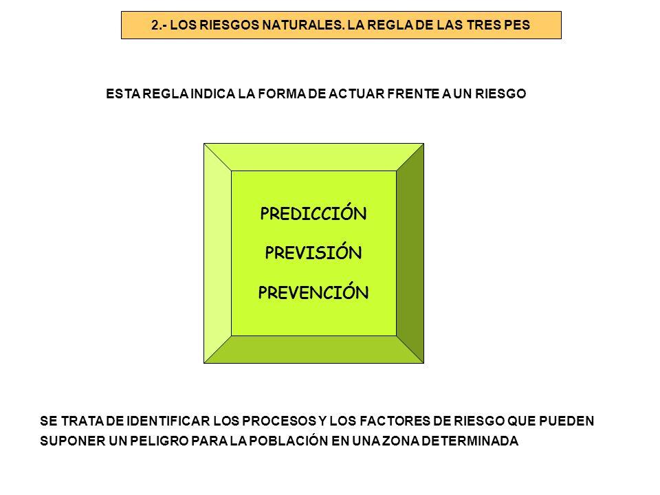 2.- LOS RIESGOS NATURALES. LA REGLA DE LAS TRES PES ESTA REGLA INDICA LA FORMA DE ACTUAR FRENTE A UN RIESGO PREDICCIÓN PREVISIÓN PREVENCIÓN SE TRATA D