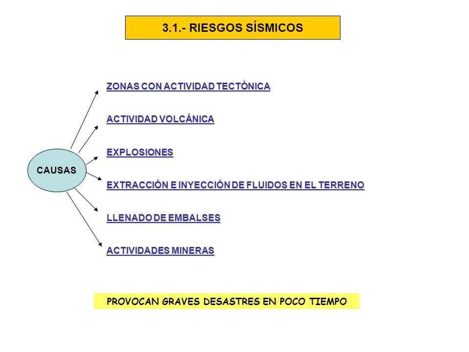 3.1.- RIESGOS SÍSMICOS CAUSAS ZONAS CON ACTIVIDAD TECTÓNICA ACTIVIDAD VOLCÁNICA EXPLOSIONES EXTRACCIÓN E INYECCIÓN DE FLUIDOS EN EL TERRENO LLENADO DE EMBALSES ACTIVIDADES MINERAS PROVOCAN GRAVES DESASTRES EN POCO TIEMPO