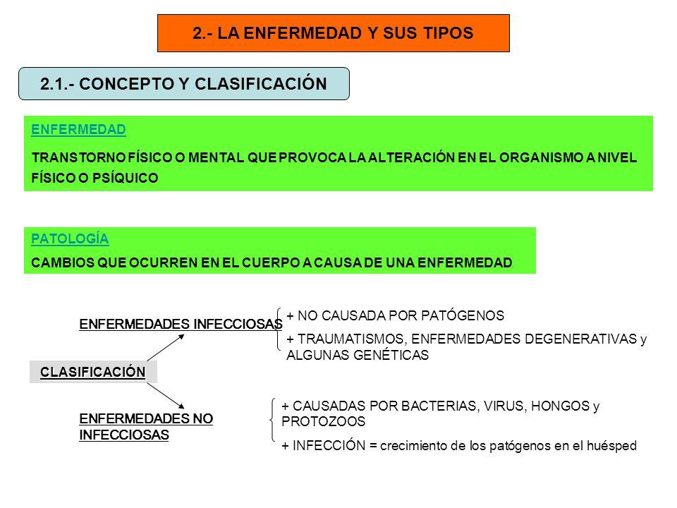 2.- LA ENFERMEDAD Y SUS TIPOS 2.1.- CONCEPTO Y CLASIFICACIÓN ENFERMEDAD TRANSTORNO FÍSICO O MENTAL QUE PROVOCA LA ALTERACIÓN EN EL ORGANISMO A NIVEL F