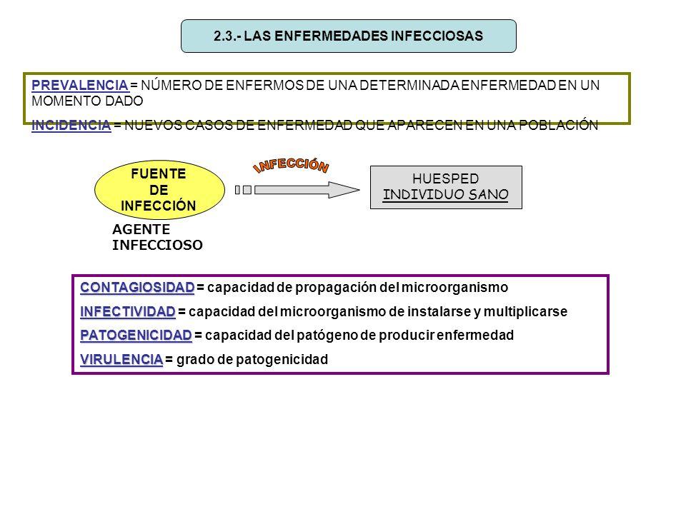 2.3.- LAS ENFERMEDADES INFECCIOSAS PREVALENCIA = NÚMERO DE ENFERMOS DE UNA DETERMINADA ENFERMEDAD EN UN MOMENTO DADO INCIDENCIA = NUEVOS CASOS DE ENFE