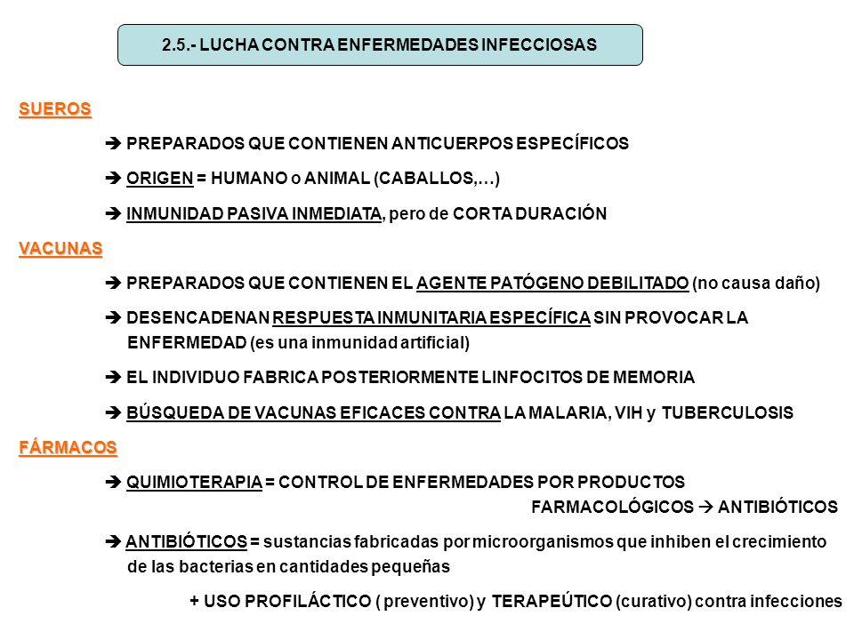 2.5.- LUCHA CONTRA ENFERMEDADES INFECCIOSAS SUEROS PREPARADOS QUE CONTIENEN ANTICUERPOS ESPECÍFICOS ORIGEN = HUMANO o ANIMAL (CABALLOS,…) INMUNIDAD PA