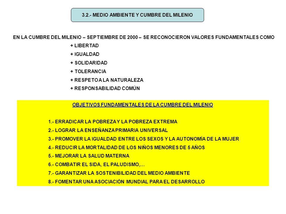 3.2.- MEDIO AMBIENTE Y CUMBRE DEL MILENIO EN LA CUMBRE DEL MILENIO – SEPTIEMBRE DE 2000 – SE RECONOCIERON VALORES FUNDAMENTALES COMO + LIBERTAD + IGUALDAD + SOLIDARIDAD + TOLERANCIA + RESPETO A LA NATURALEZA + RESPONSABILIDAD COMÚN OBJETIVOS FUNDAMENTALES DE LA CUMBRE DEL MILENIO 1.- ERRADICAR LA POBREZA Y LA POBREZA EXTREMA 2.- LOGRAR LA ENSEÑANZA PRIMARIA UNIVERSAL 3.- PROMOVER LA IGUALDAD ENTRE LOS SEXOS Y LA AUTONOMÍA DE LA MUJER 4.- REDUCIR LA MORTALIDAD DE LOS NIÑOS MENORES DE 5 AÑOS 5.- MEJORAR LA SALUD MATERNA 6.- COMBATIR EL SIDA, EL PALUDISMO,… 7.- GARANTIZAR LA SOSTENIBILIDAD DEL MEDIO AMBIENTE 8.- FOMENTAR UNA ASOCIACIÓN MUNDIAL PARA EL DESARROLLO