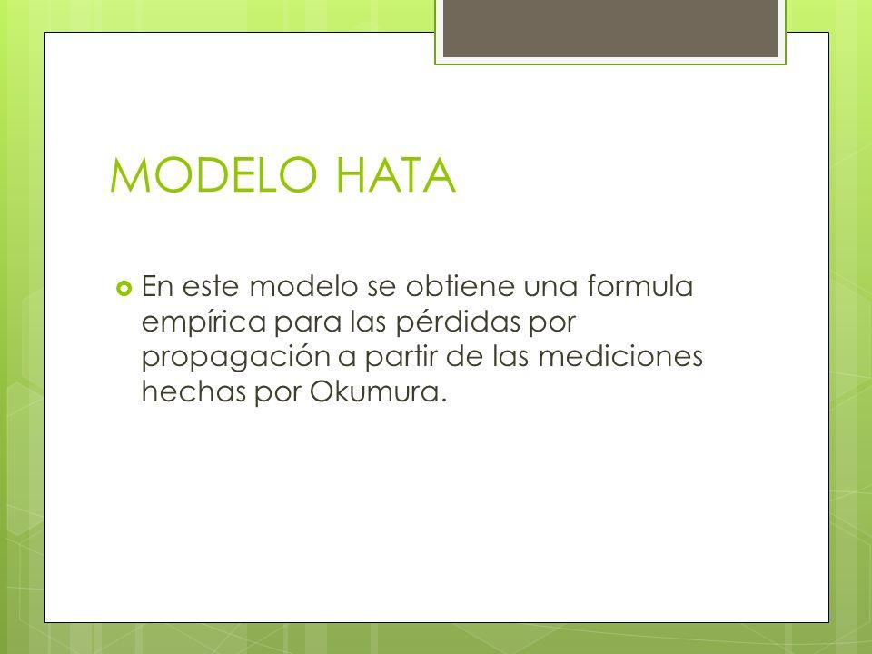 MODELO HATA En este modelo se obtiene una formula empírica para las pérdidas por propagación a partir de las mediciones hechas por Okumura.
