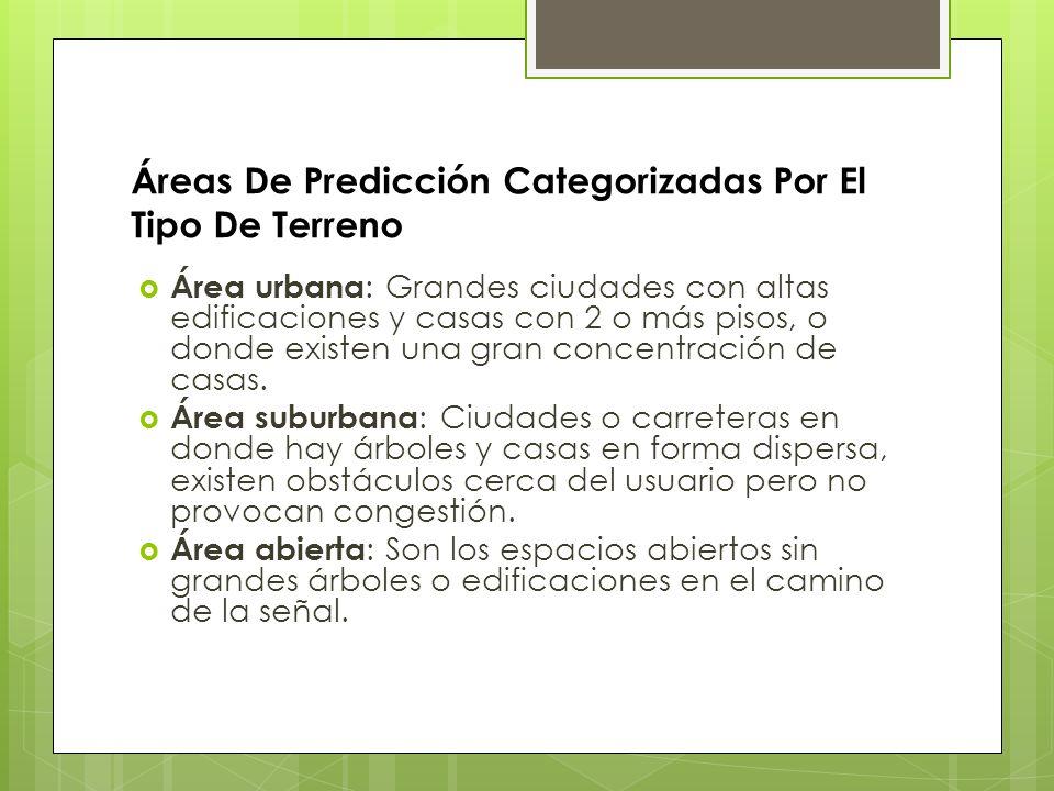 Áreas De Predicción Categorizadas Por El Tipo De Terreno Área urbana : Grandes ciudades con altas edificaciones y casas con 2 o más pisos, o donde exi