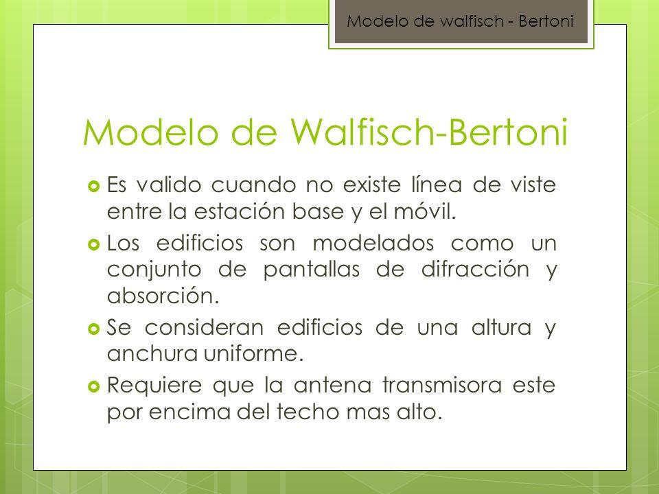 Modelo de Walfisch-Bertoni Modelo de walfisch - Bertoni Es valido cuando no existe línea de viste entre la estación base y el móvil. Los edificios son