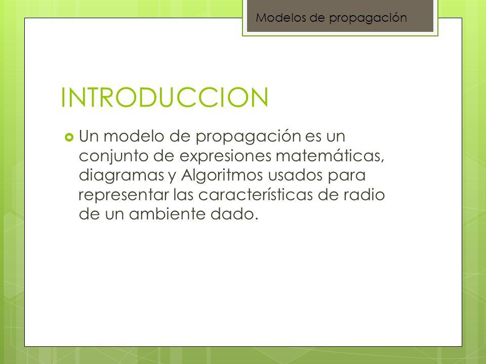 INTRODUCCION Un modelo de propagación es un conjunto de expresiones matemáticas, diagramas y Algoritmos usados para representar las características de