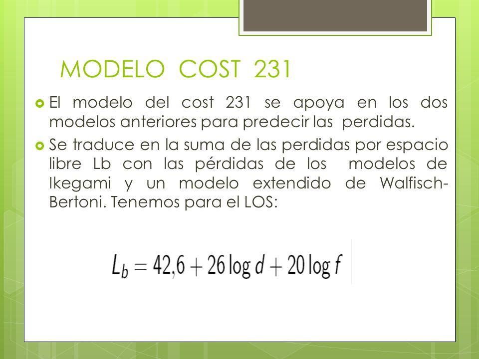 El modelo del cost 231 se apoya en los dos modelos anteriores para predecir las perdidas. Se traduce en la suma de las perdidas por espacio libre Lb c