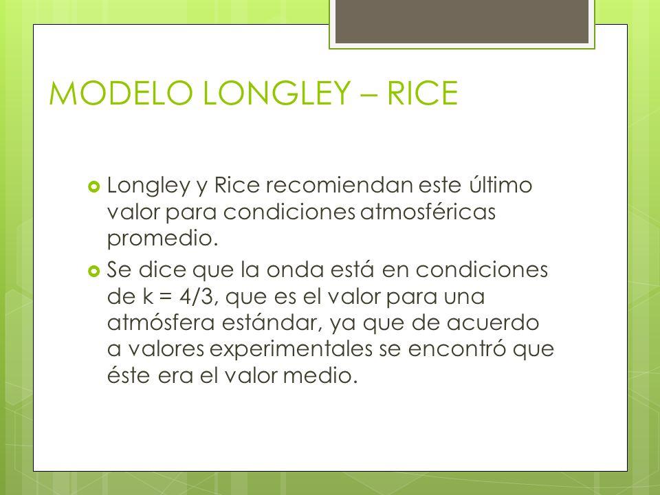 Longley y Rice recomiendan este último valor para condiciones atmosféricas promedio. Se dice que la onda está en condiciones de k = 4/3, que es el val