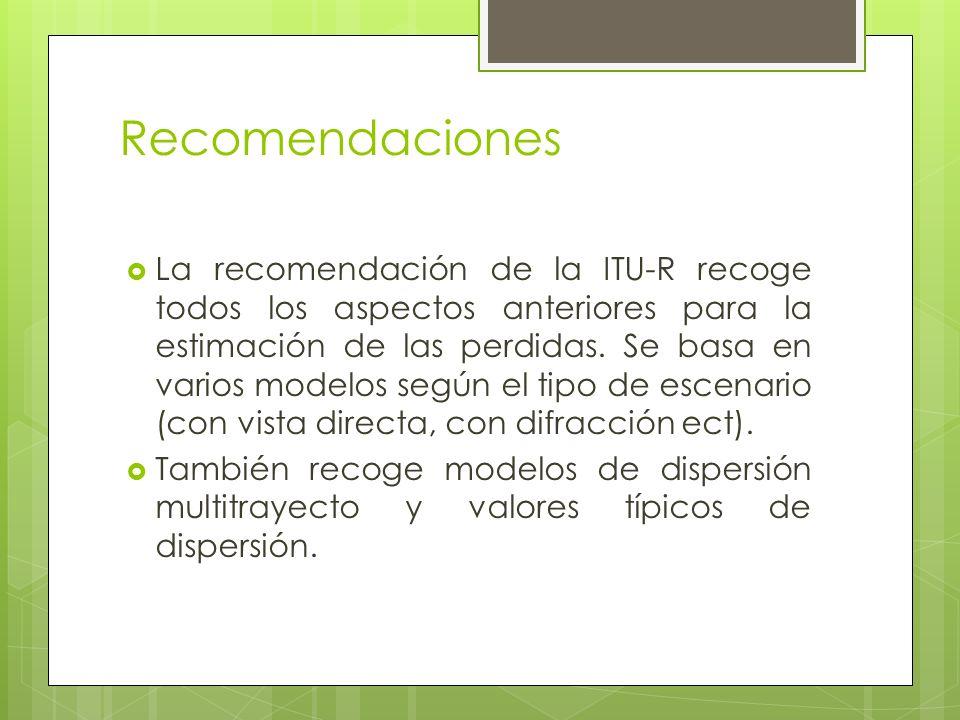 Recomendaciones La recomendación de la ITU-R recoge todos los aspectos anteriores para la estimación de las perdidas. Se basa en varios modelos según
