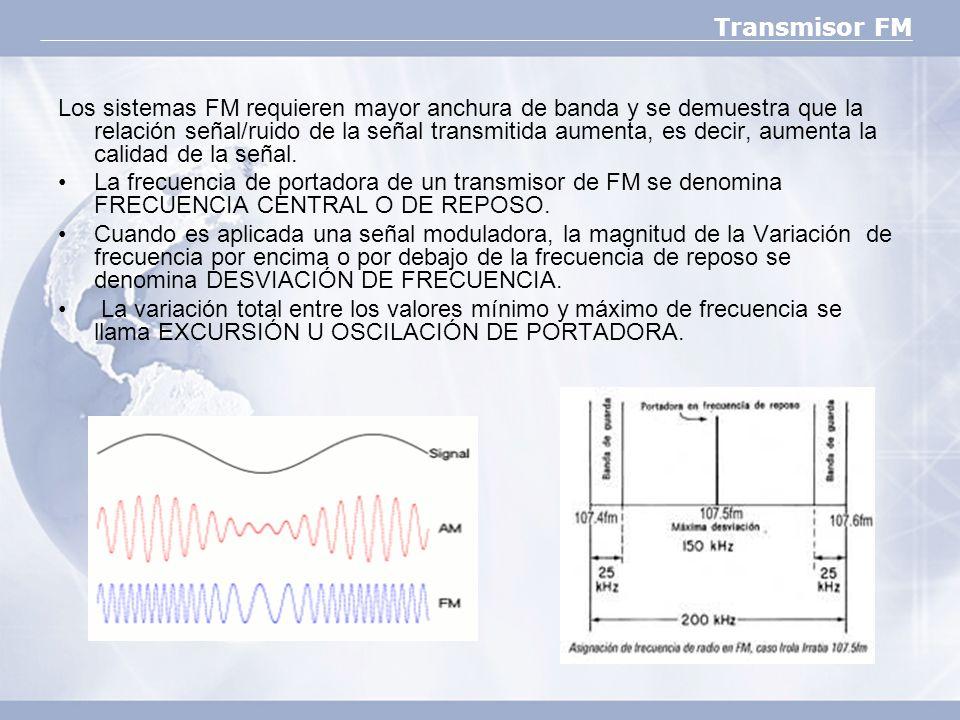 Transmisor FM Los sistemas FM requieren mayor anchura de banda y se demuestra que la relación señal/ruido de la señal transmitida aumenta, es decir, a
