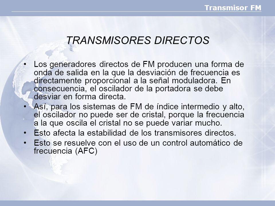 Transmisor FM TRANSMISORES DIRECTOS Los generadores directos de FM producen una forma de onda de salida en la que la desviación de frecuencia es direc