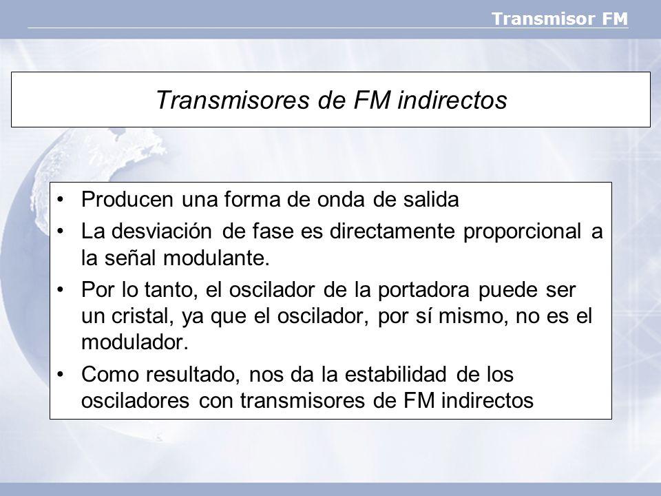 Transmisor FM Transmisores de FM indirectos Producen una forma de onda de salida La desviación de fase es directamente proporcional a la señal modulan