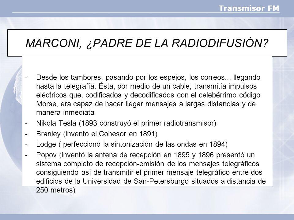 Transmisor FM MARCONI, ¿PADRE DE LA RADIODIFUSIÓN? -Desde los tambores, pasando por los espejos, los correos... llegando hasta la telegrafía. Ésta, po
