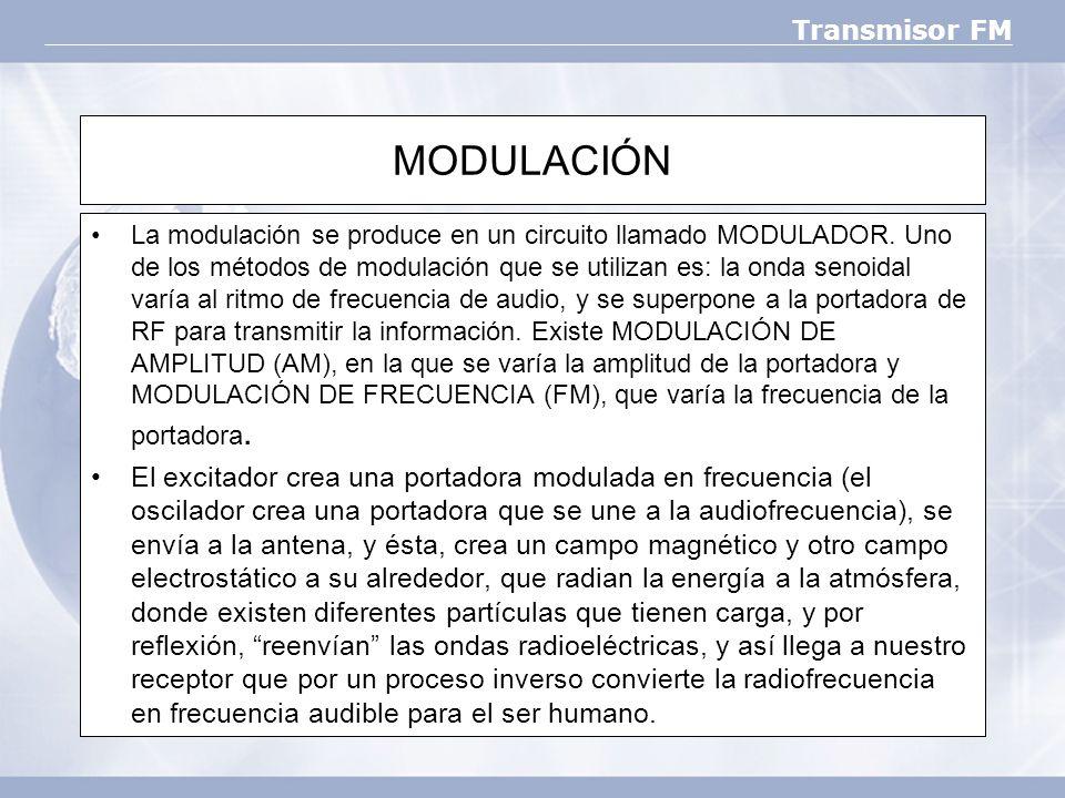 Transmisor FM MODULACIÓN La modulación se produce en un circuito llamado MODULADOR. Uno de los métodos de modulación que se utilizan es: la onda senoi