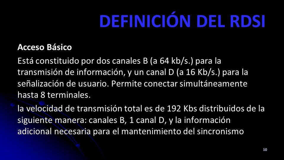 DEFINICIÓN DEL RDSI Acceso Básico Está constituido por dos canales B (a 64 kb/s.) para la transmisión de información, y un canal D (a 16 Kb/s.) para la señalización de usuario.
