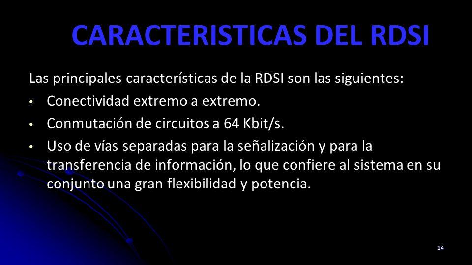 CARACTERISTICAS DEL RDSI Las principales características de la RDSI son las siguientes: Conectividad extremo a extremo. Conmutación de circuitos a 64