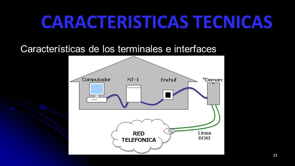 CARACTERISTICAS TECNICAS 22 Características de los terminales e interfaces