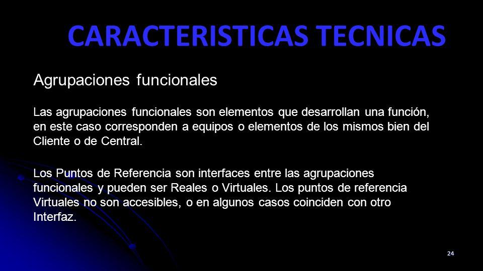 CARACTERISTICAS TECNICAS 24 Agrupaciones funcionales Las agrupaciones funcionales son elementos que desarrollan una función, en este caso corresponden a equipos o elementos de los mismos bien del Cliente o de Central.