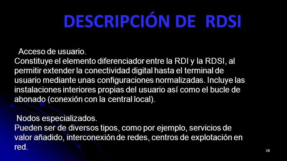 DESCRIPCIÓN DE RDSI 28 Acceso de usuario. Constituye el elemento diferenciador entre la RDI y la RDSI, al permitir extender la conectividad digital ha