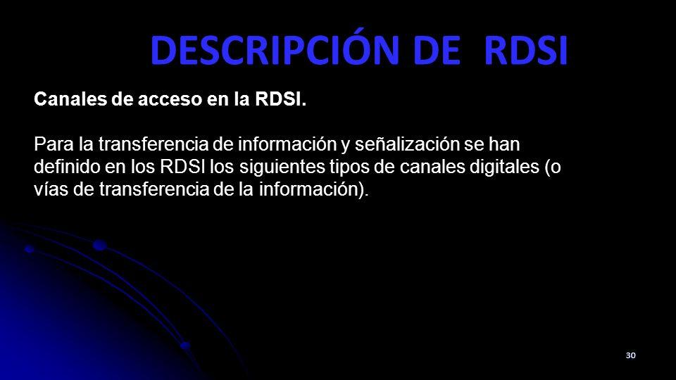 DESCRIPCIÓN DE RDSI 30 Canales de acceso en la RDSI. Para la transferencia de información y señalización se han definido en los RDSI los siguientes ti