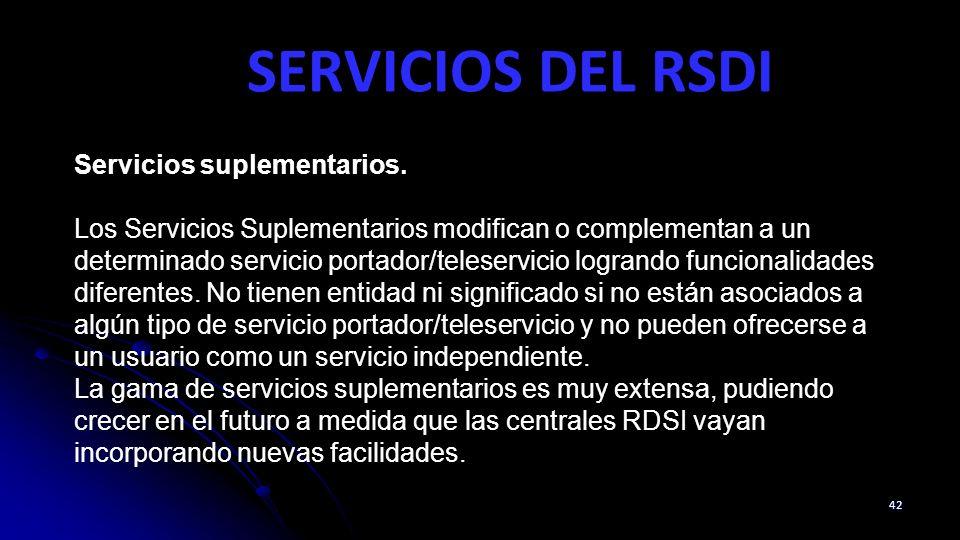 SERVICIOS DEL RSDI 42 Servicios suplementarios. Los Servicios Suplementarios modifican o complementan a un determinado servicio portador/teleservicio