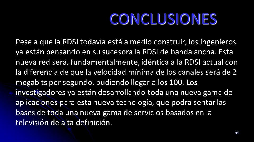 CONCLUSIONES Pese a que la RDSI todavía está a medio construir, los ingenieros ya están pensando en su sucesora la RDSI de banda ancha. Esta nueva red