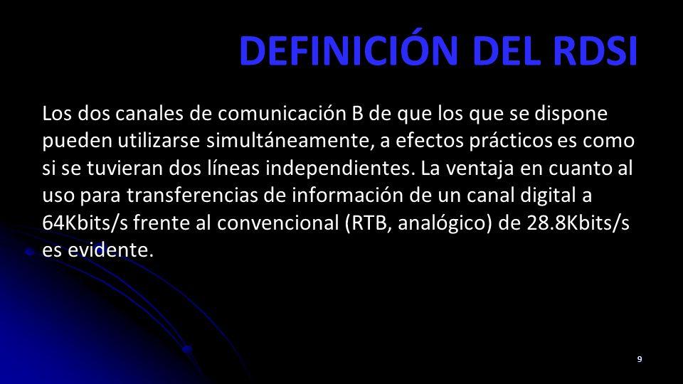 DEFINICIÓN DEL RDSI Los dos canales de comunicación B de que los que se dispone pueden utilizarse simultáneamente, a efectos prácticos es como si se tuvieran dos líneas independientes.