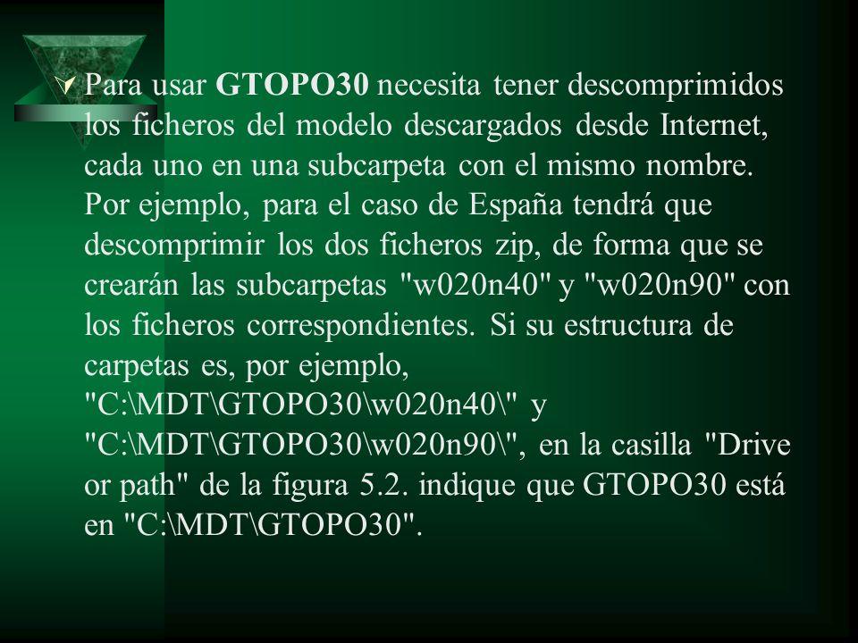 Para usar GTOPO30 necesita tener descomprimidos los ficheros del modelo descargados desde Internet, cada uno en una subcarpeta con el mismo nombre. Po