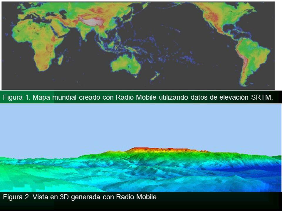 Figura 1. Mapa mundial creado con Radio Mobile utilizando datos de elevación SRTM. Figura 2. Vista en 3D generada con Radio Mobile.