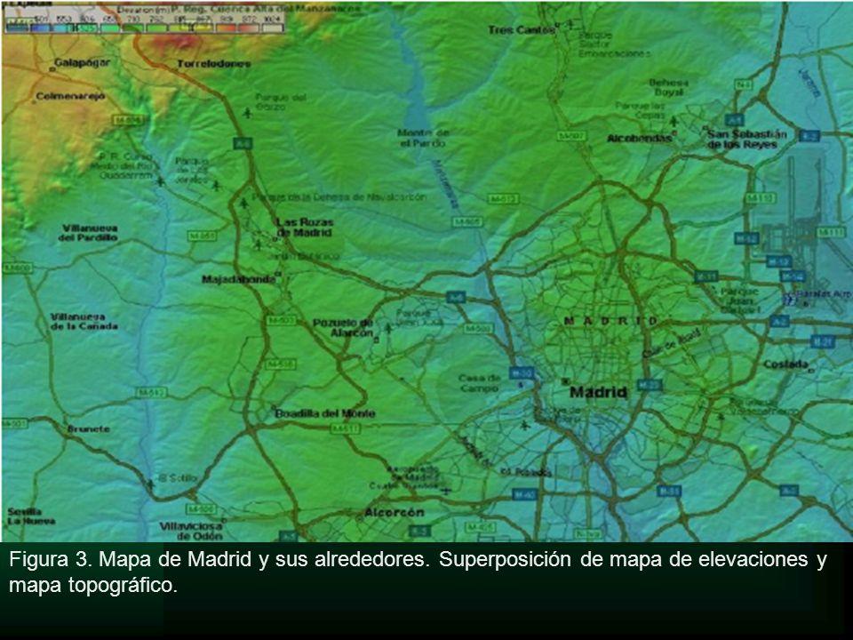 Figura 3. Mapa de Madrid y sus alrededores. Superposición de mapa de elevaciones y mapa topográfico.