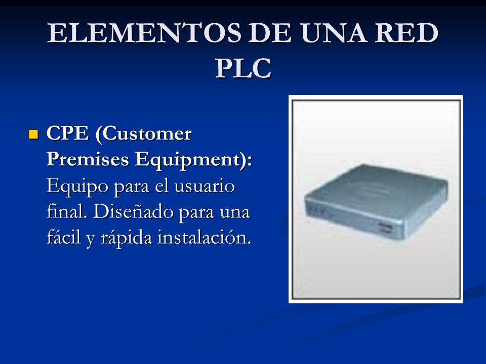 ELEMENTOS DE UNA RED PLC CPE (Customer Premises Equipment): Equipo para el usuario final. Diseñado para una fácil y rápida instalación. CPE (Customer