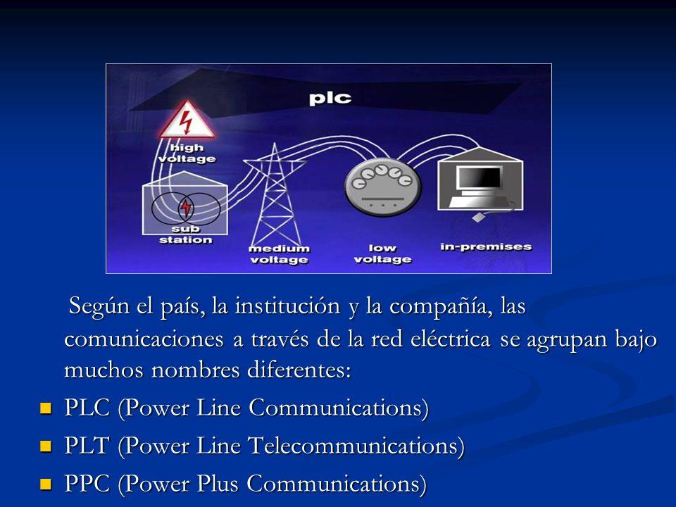 Según el país, la institución y la compañía, las comunicaciones a través de la red eléctrica se agrupan bajo muchos nombres diferentes: Según el país,