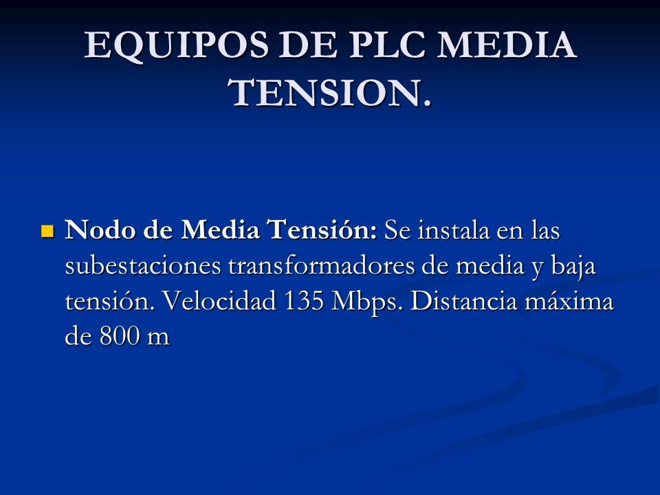 EQUIPOS DE PLC MEDIA TENSION. Nodo de Media Tensión: Se instala en las subestaciones transformadores de media y baja tensión. Velocidad 135 Mbps. Dist