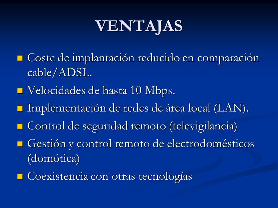 VENTAJAS Coste de implantación reducido en comparación cable/ADSL. Coste de implantación reducido en comparación cable/ADSL. Velocidades de hasta 10 M